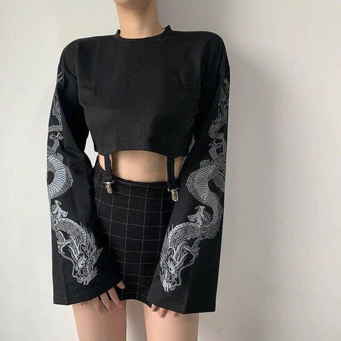 HARAJUKU LONG SLEEVE GOTHIC CROP TOP-Cosmique Studio-Aesthetic-Egirl-Grunge-Clothing