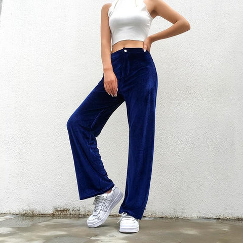HARAJUKU STYLE BLUE VELOUR WIDE LEG HIGH WAIST PANTS-Cosmique Studio