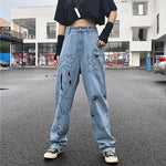 HARAJUKU STYLE CARTOON PRINT WIDE LEG JEANS-Cosmique Studio-Aesthetic-Egirl-Grunge-Clothing