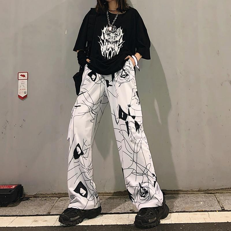 HARAJUKU STYLE DARK BLACK GRAFFITI PANTS-Cosmique Studio