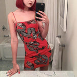 HARAJUKU STYLE DRAGON PRINTED SEXY MINI DRESS - Cosmique Studio