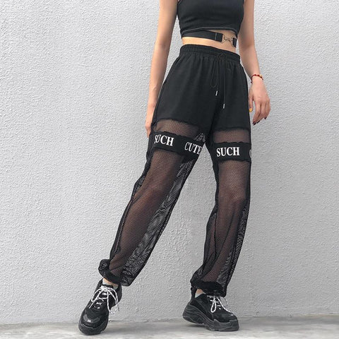 HARAJUKU STYLE HIGH WAIST MESH PANTS-Cosmique Studio