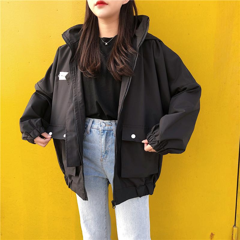 HARAJUKU ZIPPER HOODED JACKET-aesthetic-clothing-cosmiquestudio.com