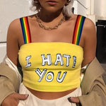 I HATE YOU RAINBOW CROP TOP-Cosmique Studio
