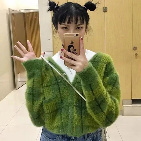 INDIE GIRL GREEN CROPPED SWEATER-Cosmique Studio-Aesthetic Clothing Store