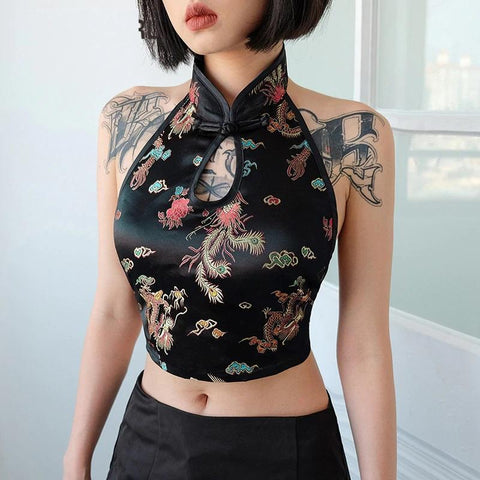 JAPANESE STYLE BLACK SEXY CROP TOP-Cosmique Studio-Aesthetic Clothing Store