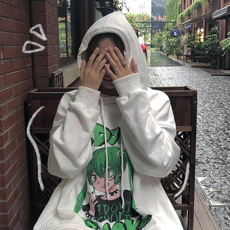 KAWAII ANIME GIRL I DONT SMOKE HOODIE-Cosmique Studio-Aesthetic-Egirl-Grunge-Clothing