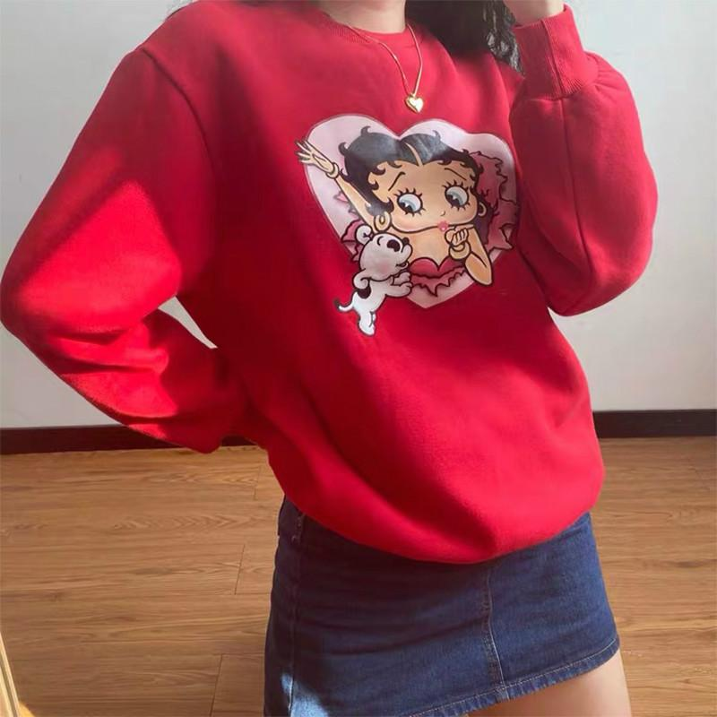 KAWAII BETTY BOOP PRINTED SWEATSHIRT - Cosmique Studio - Aesthetic Outfits