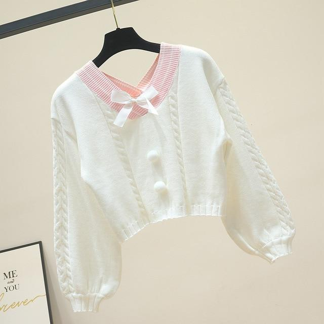 KAWAII BOW V NECK KNITTED SWEATER - Cosmique Studio - Aesthetic Outfits