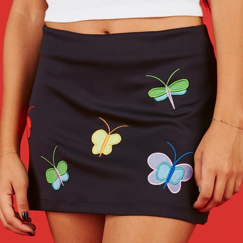 KAWAII BUTTERFLY EMBROIDERY MINI SKIRT - Cosmique Studio - Aesthetic Outfits