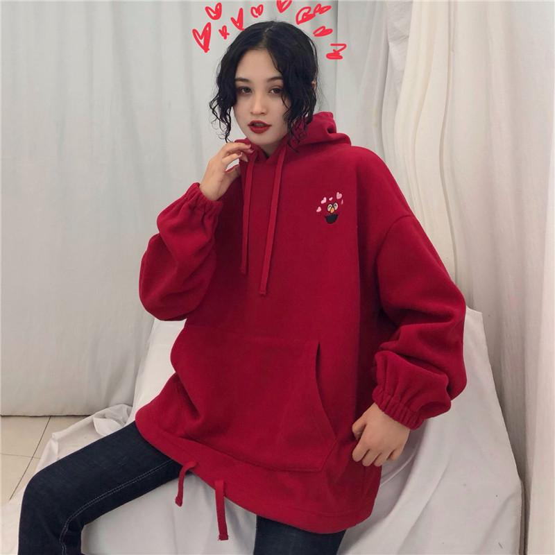 KAWAII CARTOON EMBROIDERED HOODIE - Cosmique Studio - Aesthetic Outfits