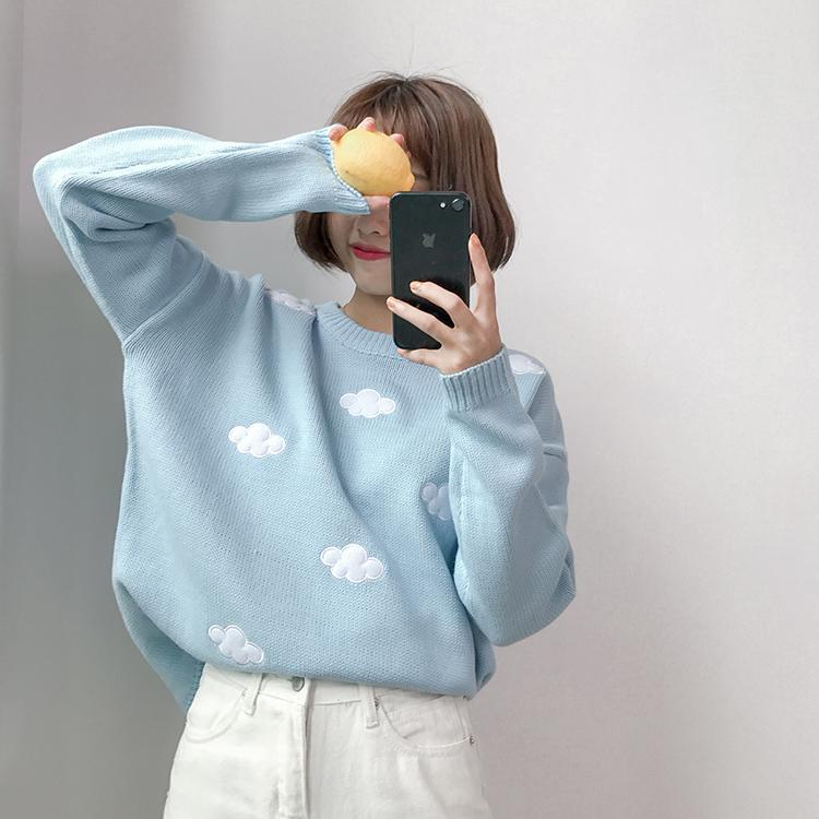 KAWAII CLOUDS SOFT SWEATER-Cosmique Studio - Aesthetic Clothing