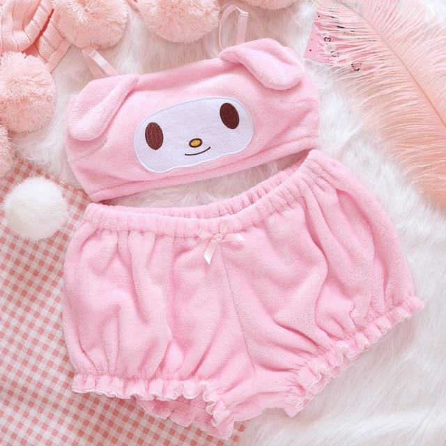 KAWAII DOGGY BRA & PANTY SET - Cosmique Studio - Aesthetic Outfits