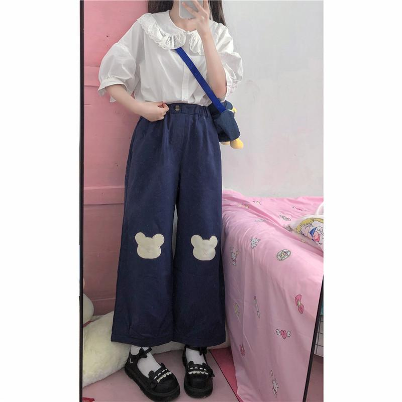 KAWAII GIRL BEAR EMBROIDERY PANTS-Cosmique Studio-Aesthetic-Outfits