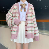 KAWAII GIRL FLOWER LOOSE CARDIGAN SWEATER-Cosmique Studio-Aesthetic-Outfits