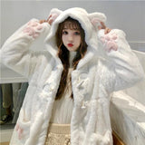 KAWAII LOLITA GIRL CUTE WHITE CAT PLUSH JACKET-Cosmique Studio-Aesthetic-Outfits