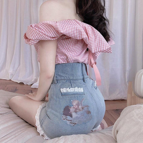KAWAII LOLITA STYLE ANGEL PRINTED DENIM SHORTS-Cosmique Studio