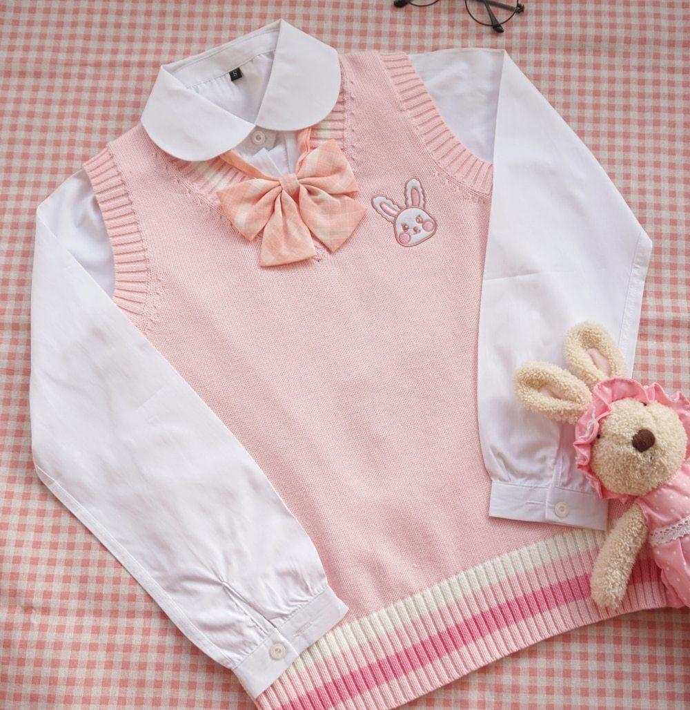 KAWAII PINK RABBIT EMBROIDERED SWEATER - Cosmique Studio - Aesthetic Outfits