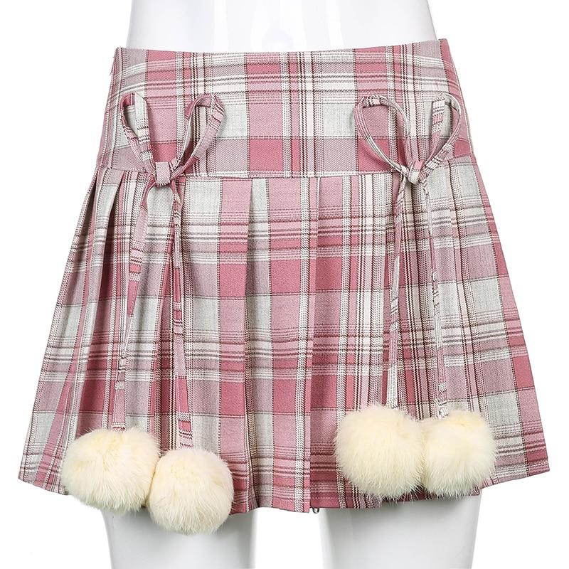 KAWAII STYLE POM POM MINI SKIRT - Cosmique Studio - Aesthetic Outfits