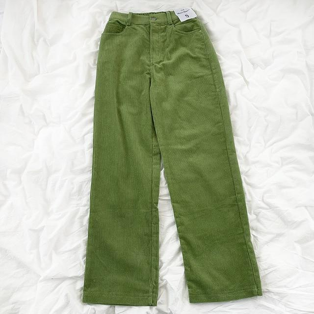KOREAN CORDUROY SOLID PANTS - Cosmique Studio - Aesthetic Outfits