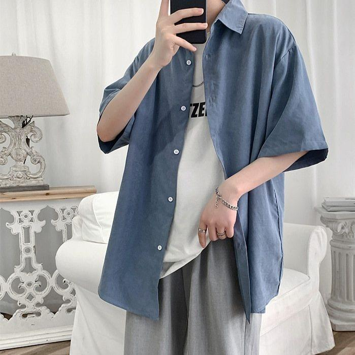 KOREAN COTTON MEN SHIRT - Cosmique Studio - Aesthetic Outfits