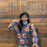 KOREAN FLORAL LOOSE WOOL SWEATER-Cosmique Studio-Aesthetic Clothing Store