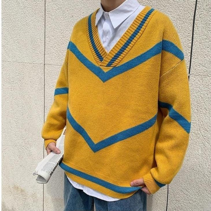 KOREAN LOOSE KNITTED MEN SWEATER - Cosmique Studio - Aesthetic Outfits