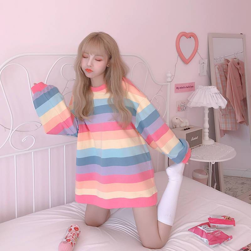 KOREAN PASTEL SOFT GIRL RAINBOW TEE-Cosmique Studio-Aesthetic-Egirl-Grunge-Clothing