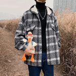 KOREAN RETRO PLAID HOODED MEN JACKET-Cosmique Studio-aesthetic-clothing-store