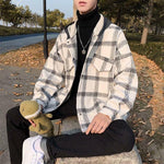 KOREAN RETRO PLAID HOODED MEN JACKET-Cosmique Studio-Aesthetic Clothing Store