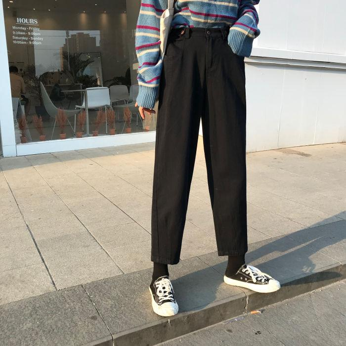 KOREAN SOLID HIGH WAIST PANTS - Cosmique Studio - Aesthetic Outfits