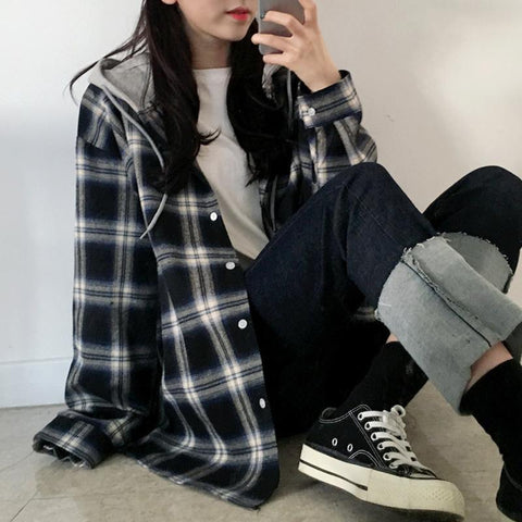 KOREAN STYLE PLAID HOODED SHIRT-Cosmique Studio-Aesthetic Clothing Store