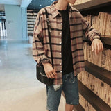 KOREAN STYLE TRENDY PLAID MEN SHIRT-Cosmique Studio - Aesthetic Clothing