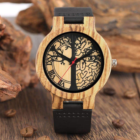 LIFE TREE DIAL TIMEPIECES NATURAL QUARTZ WOOD WATCH-Cosmique Studio