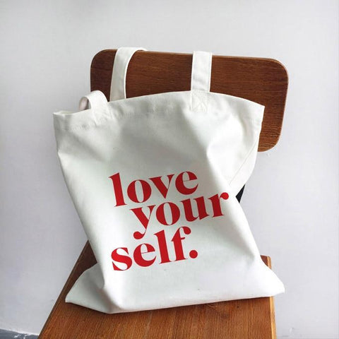 LOVE YOUR SELF WOMAN CLOTH BAG-Cosmique Studio - Aesthetic Clothing