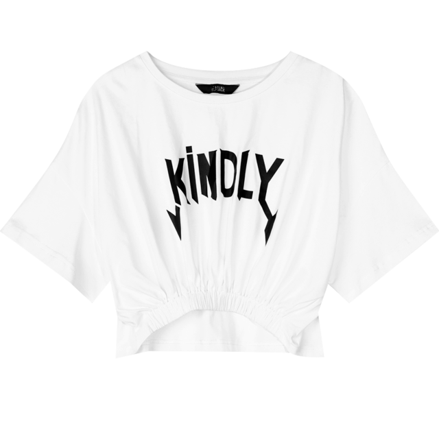 MULTICOLOR KINDLY PRINT MINIMALIST CROP TEE - Cosmique Studio