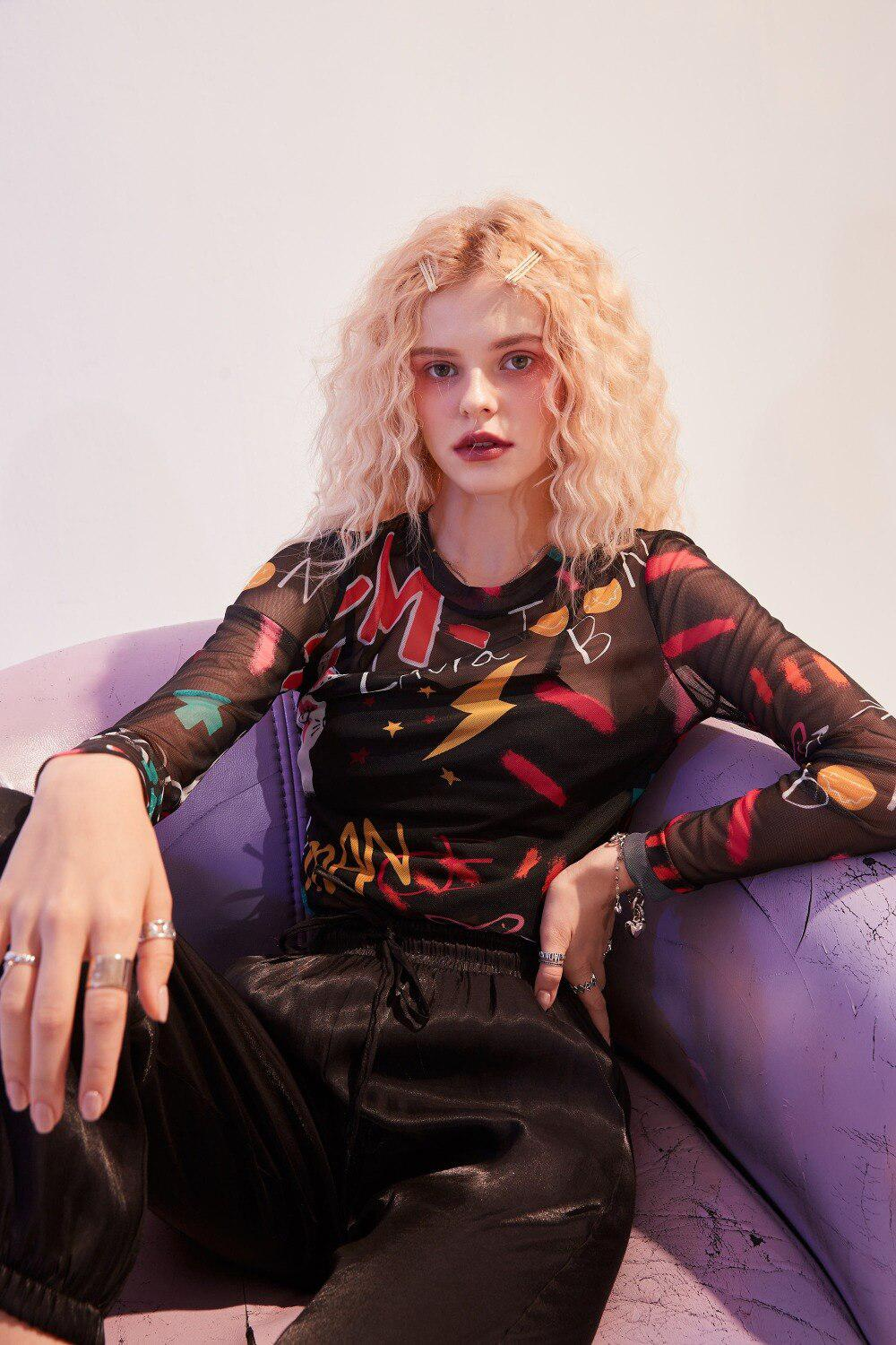 MULTICOLOR LETTER PRINT CHIC MESH BLOUSE - Cosmique Studio