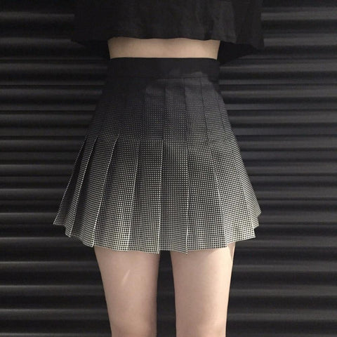 PASTEL GOTH COLLEGE HIGH WAIST PLEATED MINI SKIRT-Cosmique Studio-Aesthetic-Egirl-Grunge-Clothing