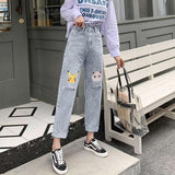 PIKACHU AND JIGGLYPUFF CARTOON PRINT JEANS PANTS-Cosmique Studio