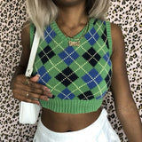 PLAID KNITTED CROP SWEATER