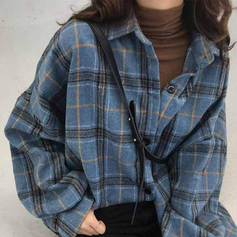 PLAID WOOLLEN LUMBERJACK SHIRT-Cosmique Studio