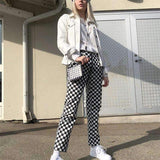 PLAID ZIPPER CHECKERED PANTS-Cosmique Studio