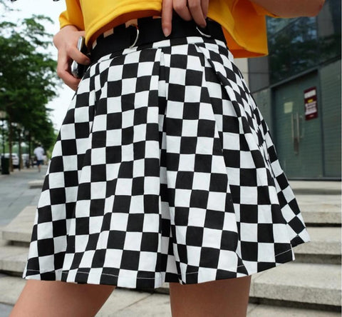 PLEATED CHECKERBOARD HIGH WAIST MINI SKIRT-Cosmique Studio