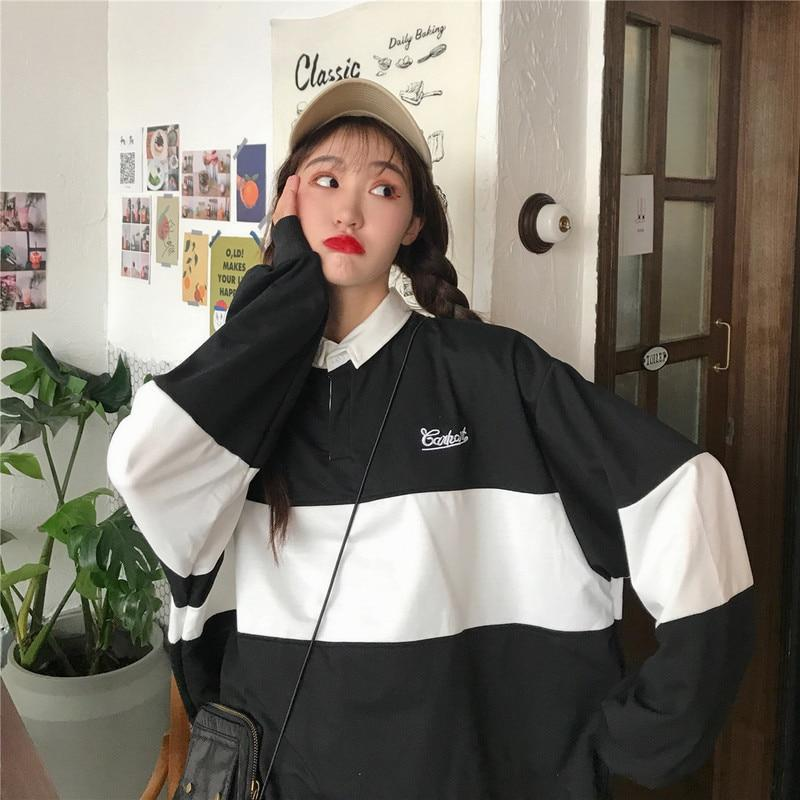 POLO COLLAR KPOP STYLE LOOSE SWEATSHIRT - Cosmique Studio - Aesthetic Outfits