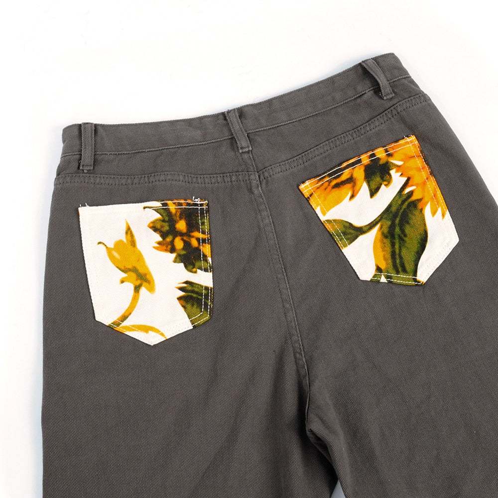 ART HOE AESTHETIC SUNFLOWER HIGH WAIST PANTS