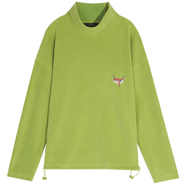 PURE FOX EMBROIDERY HALF STAND COLLAR SWEATSHIRT-Cosmique Studio