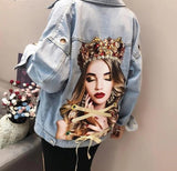 QUEEN PORTRAIT VINTAGE DENIM JACKET-Cosmique Studio