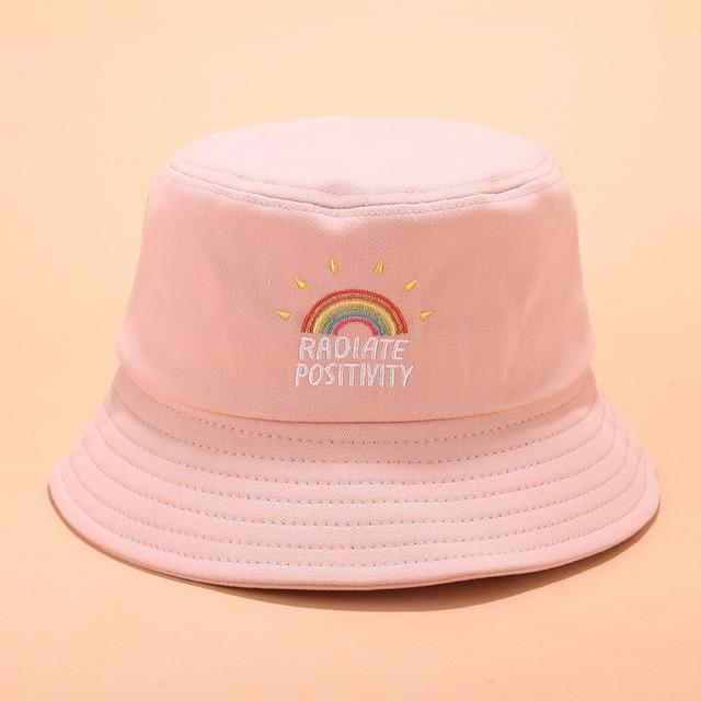 RADIATE POSITIVITY RAINBOW UNISEX BUCKET HAT-Cosmique Studio