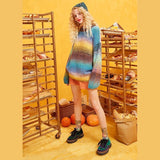 RAINBOW COLOR STRIPED MOHAIR WOMEN SWEATER-Cosmique Studio