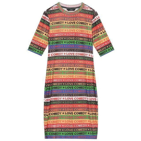 RAINBOW STRIPED WOMEN DRESSES-Cosmique Studio